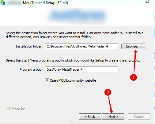 select instalation folder for second terminal