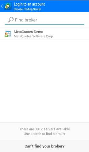 android mt4 type the name of the broker in the search field