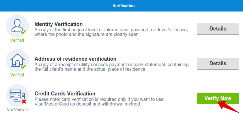 VISA/MASTERCARD verify now