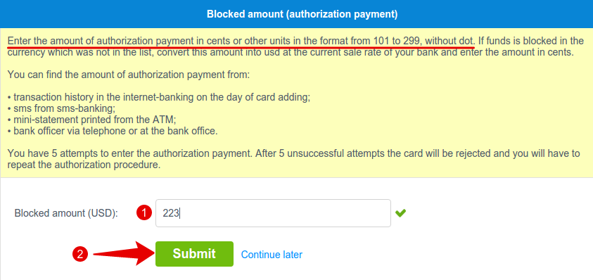 VISA/MASTERCARD blocked amount