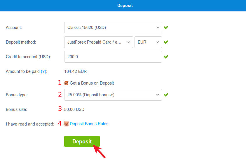 epayments deposit button