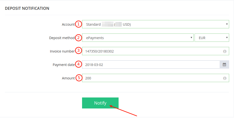 ePayments Deposit Notification Form