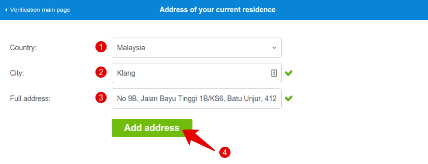 Window Address of your current residence